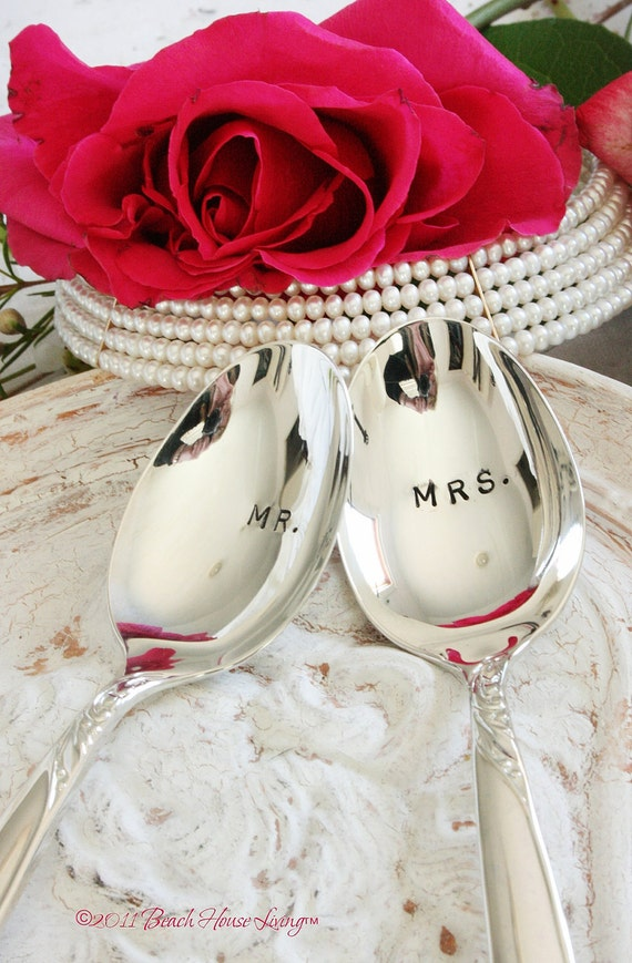 Just Married Mr. and Mrs. ice cream spoon set silver plated stamped silverware 1950s Ballad