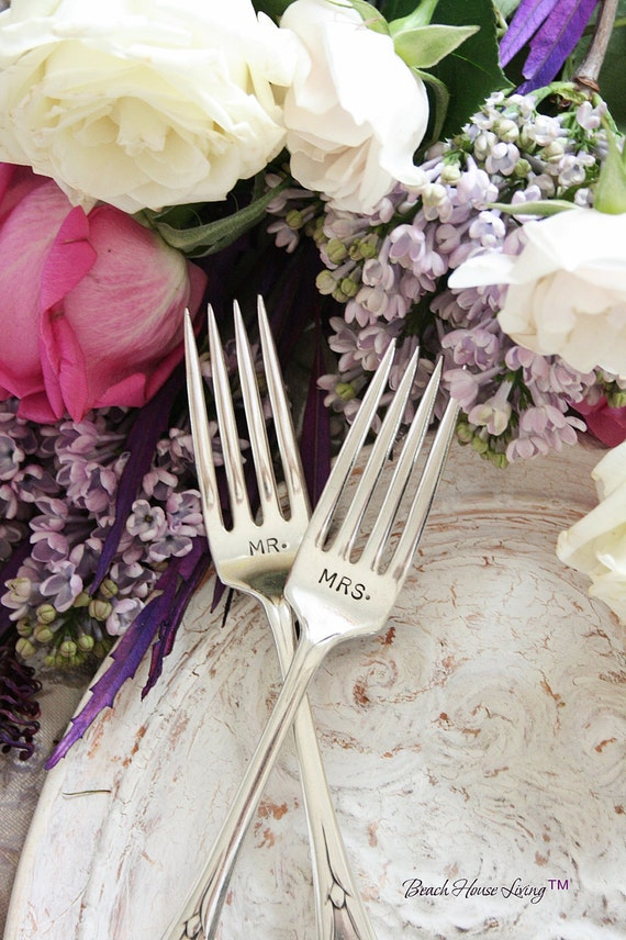 Mr and Mrs wedding cake forks vintage silver plate flatware beachhouseliving on etsy 1938 Pickwick