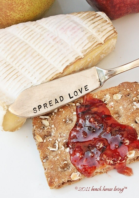 Vintage silverware Spread Love butter knife cheese spreader recycled silver plated flatware butter knife