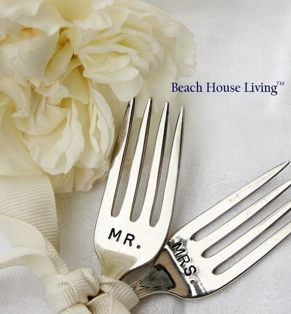 Vintage Silverware Mr. and Mrs. wedding cake topper silver plated flatware by beachhouseliving on etsy home of the original hand stamped wedding silverware