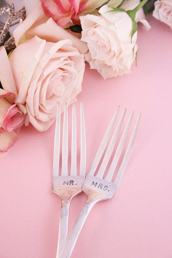 Mr. and Mrs. Wedding Cake Forks Revelation 1953 Vintage Modern