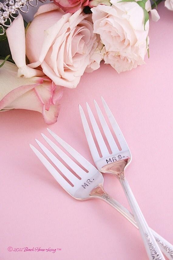 Mr. & Mrs. fork set wedding antique silver plated silverware dessert forks Royal Rose 1939