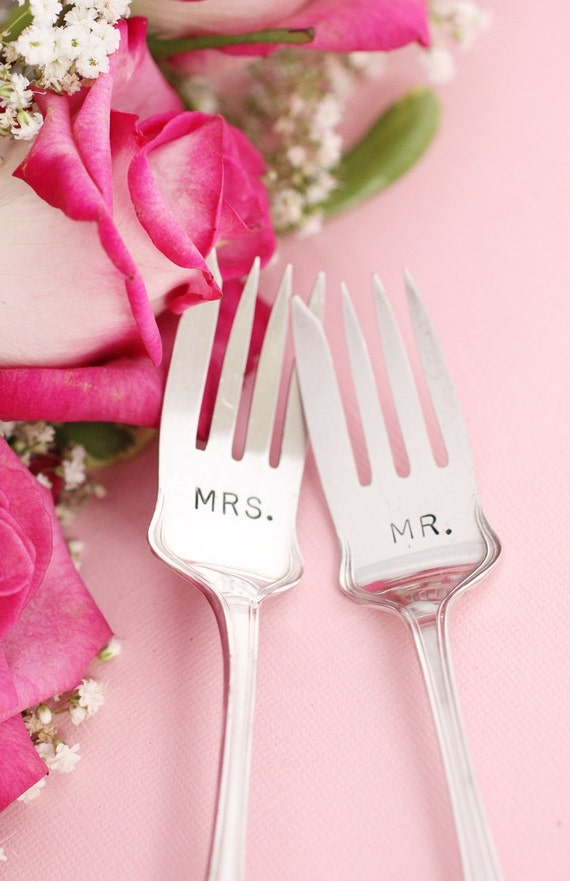 Antique wedding forks  1913 Grecian Mr. Mrs. fork set for wedding cake hand stamped silverware