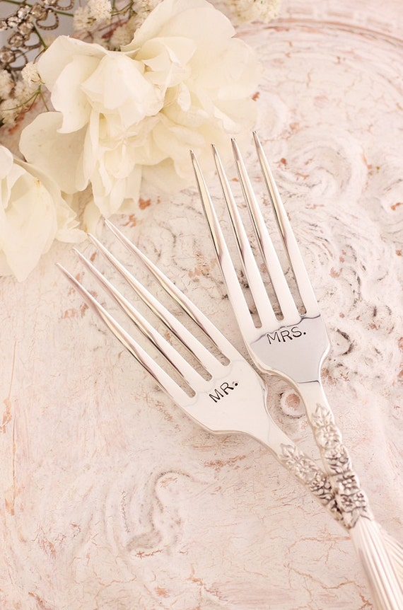 Mr. & Mrs. Wedding Cake Forks: Hand stamped silver plated forks. Floral fluted handle new and lovely with silver storage bag.