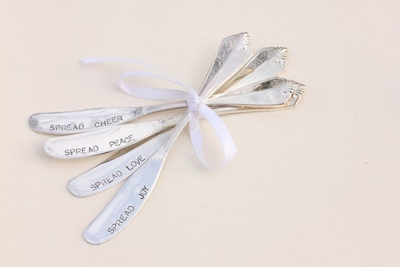Butter spreaders, jam spreaders Hand stamped silverware Spread cheer joy love peace butter knives  Ready To Ship
