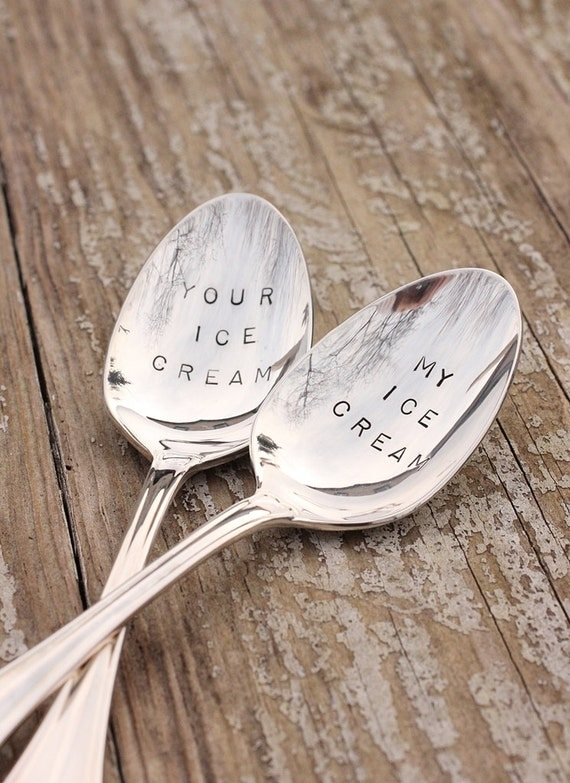 On Sale Ice Cream Spoons Set Silver Plated My Ice Cream Your Ice Cream Silverware - fleur di lis classic styling