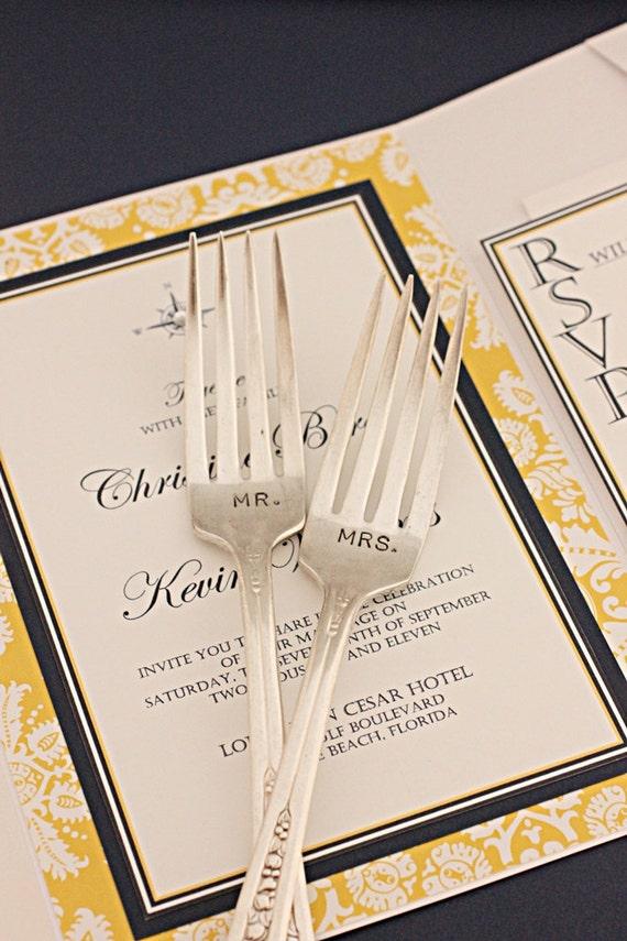 Mr. Mrs. Forks 1941 Priscilla Hand Stamped Wedding Forks. Gifts for the Bride and Groom Under 50 dollars