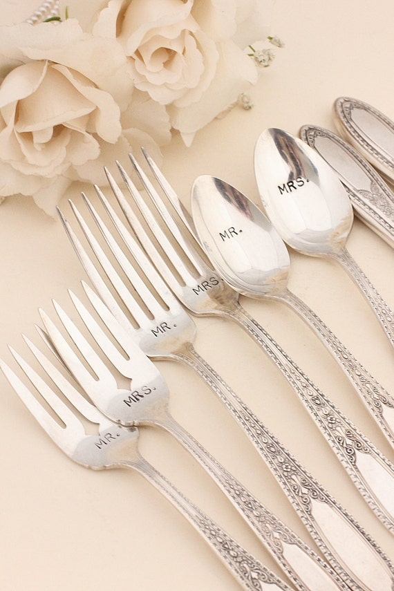 Mr. Mrs. Forks and Spoon set. 8 piece wedding flatware. 1928 Brentwood