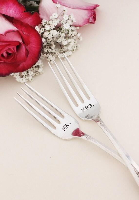 Mr. and Mrs. Forks Recycled Vintage Flatware 1953 Primrose Mr. Mrs. Wedding Forks
