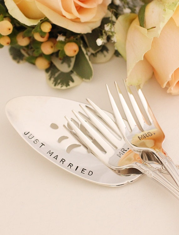Mr. Mrs. Fork Set  and Cake Server Hand Stamped Wedding Silverware Just Married 1960 Affection New