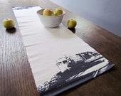 Trolley Table Runner, printed in Earl Gray & ready to ship