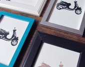 Scooter Print, Frame Options & Multiple Colors, 5 x 7in