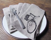 Bicycle Cloth Napkins, Set of 6, printed in Black on Brown Linen