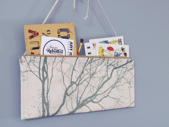Fabric Wall Organizer, with our Autumn Morning design in Hunter