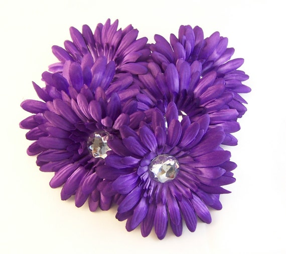 Purple Daisy Flower: 6 Purple 4 Inch Gerbera Daisy Flower Heads With Rhinestone