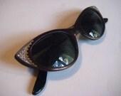 SALE   50s Cat eye Rhinestone carved detail Safilo Italy  Sunglasses