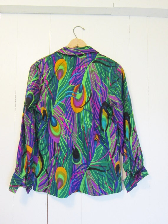 vintage 1960s Peacock Abstract Blouse top  Op art L XL