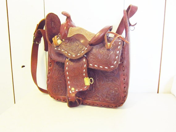 vintage Tooled Leather Horse Saddle Bag