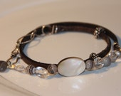 Leather, sterling silver, agate, crystal, Mother of pearl bracelet