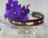 African turquoise leather bracelet