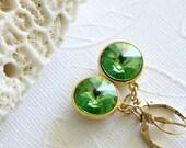 Swarovski Rivoli Earrings, Crystal Dangle Earrings, Peridot Green Crystals, Gold Plated Earrings, Dangle Earrings