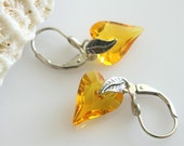 Swarovski Yellow Earrings, Sunflower Yellow Crystal, Wild Heart Swarovski Shape, Sterling Silver Earrings