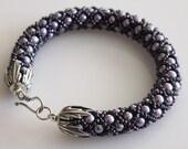 Netted Woven Bracelet, Tubular Woven Bracelet, Glass Pearls Seed Beads Bracelet, Sterling Silver Clasp