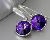 Swarovski Rivoli Earrings, Heliotrope Crystals, Purple Earrings, Long Post Earrings, Sterling Silver, Rhodium Plated