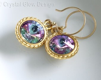 Rivoli Earrings, Vitrail Light Color, Gold Plated, Gold Filled Earrings, French Earwires