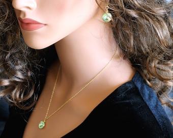 Swarovski Rivoli Set, Apple Green Crystals, Pendant on Chain, Matching Set, Gold Filled Chain, Gold Filled Leverbacks