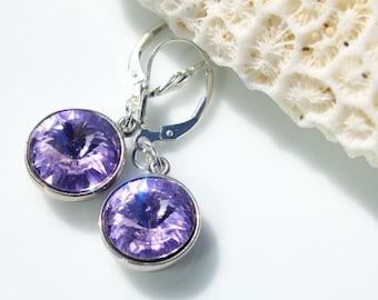Rivoli Swarovski Earrings, Swarovski Crystals, Violet Earrings, Rhodium and Sterling Dangle Earrings
