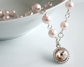 Rivoli Crystal Pendant - Pink Pearls Necklace - Made to Order - Swarovski Rivoli and Pearls Necklace - Romantic Necklace - Rivoli Necklace