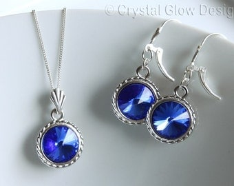 Swarovski Rivoli Earrings, Swarovski Rivoli Set, Sapphire Blue Crystal, Sterling Silver Chain, Pendant Set