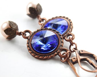 Swarovski Rivoli Earrings, Sapphire Blue Crystals, Antique Copper Earrings, Dangle Earrings, Leverbacks