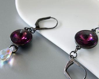 Swarovski Rivoli Earrings, Amethyst Crystals, Gunmetal Leverback Earrings, Teardrop Crystal Dangle