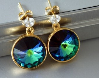 Swarovski Rivoli Earrings, Green Sphinx Color, Rivoli Crystals, Gold Plated Settings, Cubic Zirconia, Post Earrings
