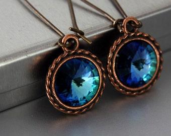 Swarovski Rivoli Earrings - Bermuda Blue Color - Rivoli Earrings - Crystal Earrings - Simple Earrings - Blue Earrings - Rustic Wedding