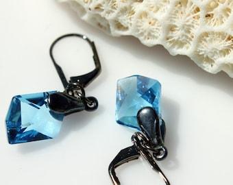 Swarovski Crystal Earrings - Crystal Earrings - Aquamarine Blue Crystal Earrings - Gunmetal Leverback Earrings - Sparkly Earrings