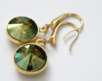 Rivoli Swarovski Earrings, Crystal Verde Color, Gold Plated Earwires, Dangle Earrings