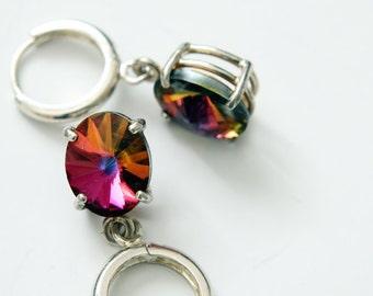 Swarovski Rivoli Earrings, Oval Rivoli Crystals, Dangle Earrings, Hoop Earrings, Sterling Silver Hoops