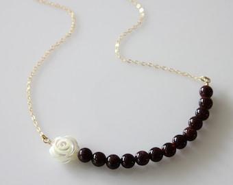 Garnet Beads Necklace, Gold Filled, MOP Carved Rose, Gold Filled Chain, Dainty Necklace, Everyday Jewelry