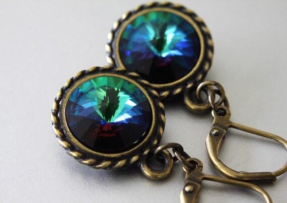 Swarovski Rivoli Earrings - Crystal Earrings - Simple Earrings - Everyday Earrings - Dangle Earrings - Casual Earrings