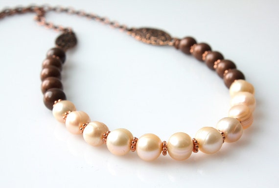 Fresh Water Pearl Necklace - Simple Necklace - Antique Copper Necklace - Short Necklace - Casual Necklace - Fall Necklace