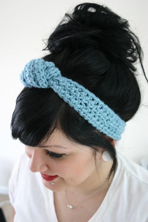 The Topknot - Crocheted Headband in Aqua