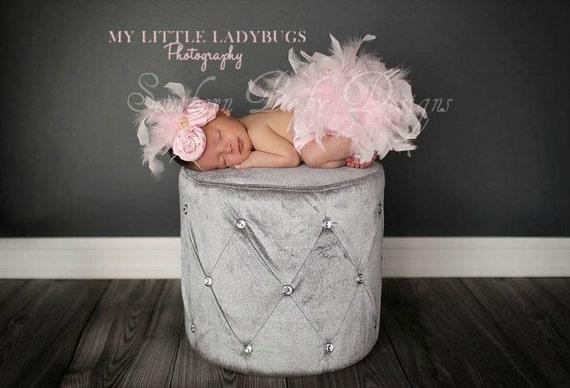 Valentines Pink Feather Couture Satin Bloomers & Headband Set Newborn thru 2T