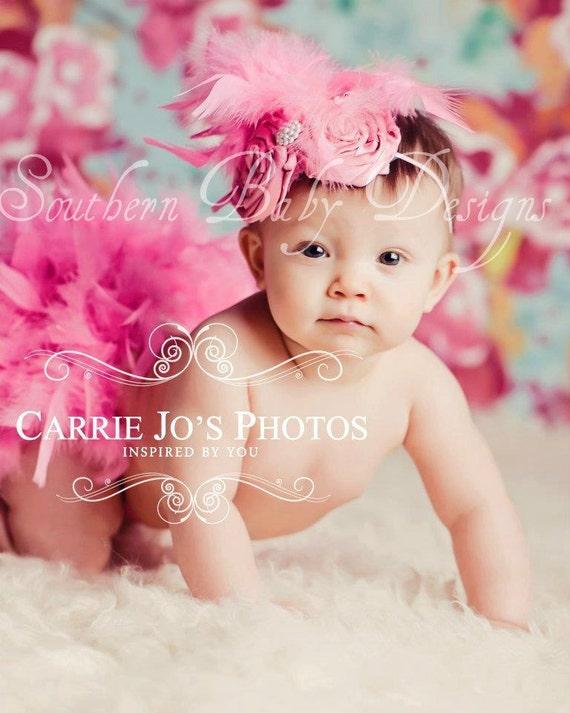 Hot Pink Feather Couture Satin Bloomers & Headband Set Newborn thru 2T