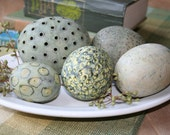 Group of five decorative ceramic spheres (eggs) in soft green and chartreuse 19