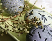 Group of three decorative ceramic spheres (eggs) in dusty purple and chartreuse 34