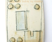"""Number 6 from  the """"Lots and Parcels"""" series. Tile, abstract, modern, natural, neutral, geometric, hand painted."""
