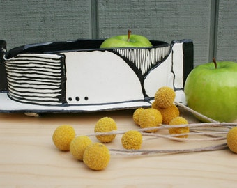 Black and white modern low vessel. Graphic, linear, OOAK, stripes, lines.